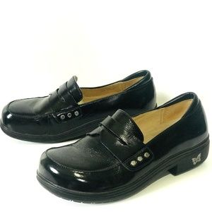 Alegria Taylor Black Waxy Penny Loafer Leather 8.5